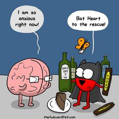 Bat Heart always knows how to fix things. Heart and Brain. The Awkward Yeti Super Funny Quotes, Funny Picture Quotes, Funny Pictures, Funny Cartoons, Funny Comics, Funny Jokes, Hilarious, Heart And Brain Comic, The Awkward Yeti