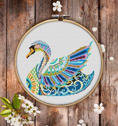 This is modern cross-stitch pattern of Mandala Swan for instant download.  You will get 7-pages PDF file, which includes: - main picture for your reference; - colorful scheme for cross-stitch; - list of DMC thread colors (instruction and key section); - list of calculated thread