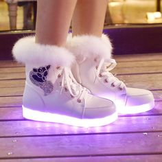 Cheap boot shoe laces, Buy Quality boot products directly from China shoe mold Suppliers: SYTAT Fashion led shoes 2016 Luminous Shoes High Quality LED Lights Colorful Shoes High Casual Shoes Rabbit's Hair Snow Boots High Top Sneakers, Moda Sneakers, Sneakers Mode, Shoes Sneakers, Sneaker Boots, Converse High, Light Up Shoes, Lit Shoes, Neon Shoes