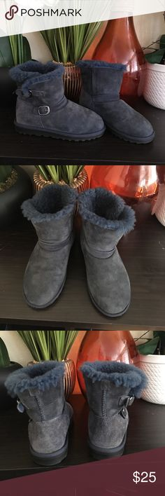 Girls suede snow boots Naturally faded suede blue girls boots. Has cushion inside perfect for snow or cold weather. Like new worn only hands full of times. Shoes Rain & Snow Boots