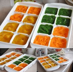 Creative Baby Food Combinations- apricots + applesauce / mango + banana + kiwi / green beans +peas + spinach / carrots + turnips / sweet potato + parsnips + applesauce / beets + blueberries / asparagus, leek + white potato / sweet potato + blueberrie / cauliflower + carrot + tomato / zucchini + white potato