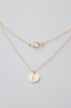 Gold Initial & Crystal Necklace  gold filled disc by adenandclaire
