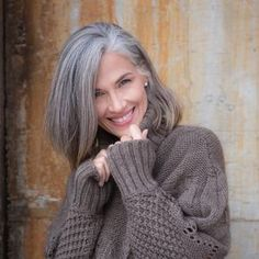 Beautiful Liz. Showcasing her gorgeous looks and lovely natural grey hair!