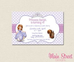 Sofia the First Birthday Invite by MainStreetDesigns on Etsy