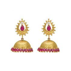 Fiery ruby and gold jhumkis  #jhumka #jhumki #jumkha #gehna