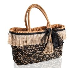 Big Bag - Large woven straw bag, with black lace finishing, jute and Swarovski strass fringes.