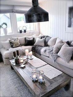 Grey lounge and L-shaped sofa