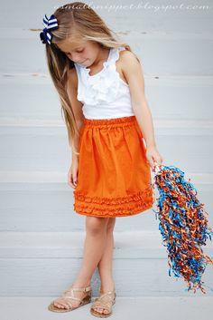 child's elastic waist ruffled skirt tutorial