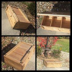 Large Rustic Storage CHEST Trunk Shelf W/Lid by UniquePrimtiques