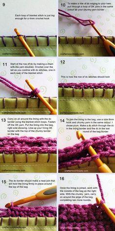 Free tutorial for handles for the retro granny stash bag. lining tutorial *cw