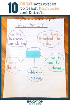 The main idea is defined as the central point or big picture of a story or informational text. The details are those statements that support (go along Reading Strategies, Reading Skills, Reading Comprehension, Reading Response, Comprehension Strategies, Reading Intervention, Main Idea Activities, Literacy Activities, Third Grade Writing