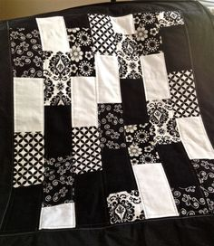 Bold Graphic Black and White Baby Scrap Quilt by ZeedleBeez,