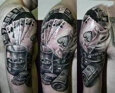 MOB Tattoo 21 Modern Tattoo Designs, Tattoo Designs Men, Hirsch Tattoos, Mago Tattoo, Tattoo No Peito, Theme Tattoo, Gambling Quotes, Gambling Tattoos, Gambling Machines