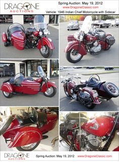 1946 Indian Chief Motorcycle with sidecar