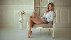 Sensuality sensual sexy girl woman model legs Alexey-Slesarev skirt denim shirt barefoot chair sitting wallpaper | 2000x1125 | 1109934 | WallpaperUP