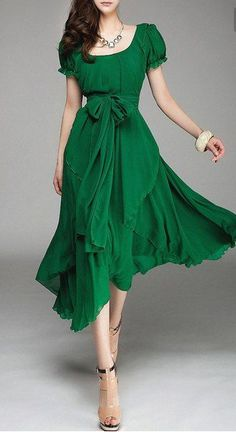 Refreshing Style Scoop Neck Solid Color Lace-Up Short Sleeve Chiffon Dress For…