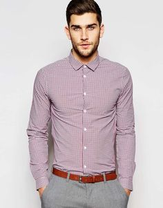 ASOS Skinny Shirt In Mini Burgundy Gingham Check With Long Sleeves