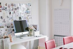 Lisa's fun workstation is punctuated with pretty inspiration and rose gold accents