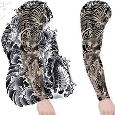 Full sleeve of waves, purely for practice but also up for grabs for someone that is just head over heels for water lol Samurai Tattoo Sleeve, Tiger Tattoo Sleeve, Lion Tattoo Sleeves, Dragon Sleeve Tattoos, Full Sleeve Tattoos, Tattoo Sleeve Designs, Irezumi Sleeve, Japanese Tiger Tattoo, Japanese Tattoo Symbols