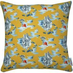Crafted from cotton panama this art print cushion features an abstract castle design. Inspired by the work of artist Hyunjoeng Lim, it adds a touch of personality to your neutral sofa or creates a bold look when teamed with a patterned bedspread.  Product: CushionConstruction Material: Cotton panama coverColour: MustardFeatures:  Solid front and patterned back Feather insert includedInspired by Hyunjoeng Lim's original painting Made in the UKDimensions: Small: 43 cm x 43 cm x 18 cmLarge: 60…