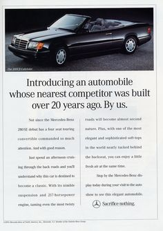 An advertisement introducing the 1993 Mercedes 300CE Cabriolet to the United States. Description from classiccarstodayonline.com. I searched for this on bing.com/images