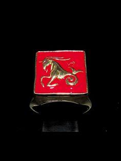 BRONZE MENS COSTUME SIGNET RING CAPRICORN CAPRICORNUS ZODIAC RED Zodiac Rings, Bronze Ring, Signet Ring, Sagittarius, Costume, Red, Costumes, Fancy Dress, Costume Dress