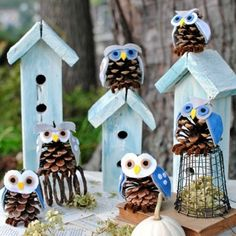 s 13 reasons to rush outside and collect an armful of pine cones, christmas decorations, crafts, repurposing upcycling, seasonal holiday decor, Cute Cone Owls
