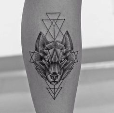 wolf + geometric tattoo