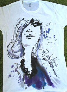 Woman's Portret graphic tshirt. Art Аquarelle by palettePandora
