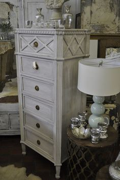 Gustavian One of a Kind Tall Driftwood Grey Imported Vintage Swedish Lingerie, Chest, Dresser