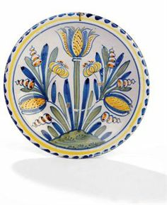 Blue dash charger with tulip decoration- English (London or Bristol) 1700-20