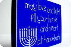 Hanukkah Love Light. Wood Block Hanukkah Decor. by bubblewrappd