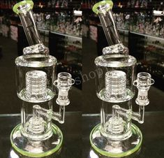 2015 New green Glass Bongs Water Pipes Smoking Pipe Honeycomb Ash Catcher with Dome Percolator Stainless Glass Water Pipes Recycler Oil Rigs