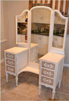 Vanity with painted burlap drawers. Follow me for great DIY home decor projects!