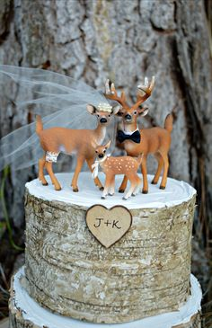Deer family wedding cake by MorganTheCreator on Etsy, $44.50