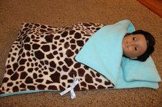 American Girl Doll Sleeping Bag and Pillow  by HopscotchSundae, $18.00