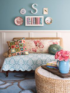Sewing Nook Sitting Area. Lovely colors.