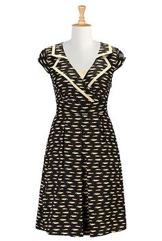 I <3 this Vintage car print notch collar dress from eShakti  #PinUp #Rockabilly  Use my Promo Code ADRIANNE65ZX to get $30 off your first order with eShakti.com