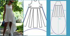 Paso a paso de modificación de patrón: vestido asimétrico ¡Un vestido muy veraniego! Fashion Sewing, Diy Fashion, Ideias Fashion, Fashion Dresses, Clothing Patterns, Dress Patterns, Sewing Patterns, Sewing Clothes, Diy Clothes