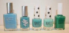 Chesapeake Family Swatches of Bright Blue Nail Polish, including Curtsy & Bow Organic Nail Lacquer