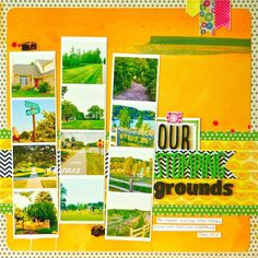 Like the strips of small pictures on this layout - good for a page with lots of photos... Life & Memories: Take Twelve: June 2012