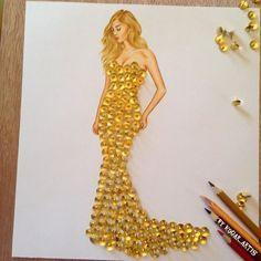 Armenian Fashion Illustrator Creates Stunning Dresses From Everyday Objects Pics) - atemberaubende kleider Paper Fashion, Arte Fashion, 3d Fashion, Vegan Fashion, Dress Design Sketches, Fashion Design Drawings, Fashion Sketches, Fashion Illustrations, Dress Designs