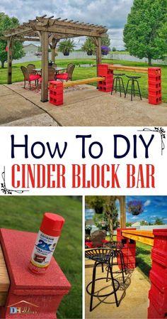 Easy DIY Cinder Block Bar With Bench ( With Instructions ) #cinderblocks #cinderblockbench Diy Fence, Backyard Fences, Backyard Landscaping, Wooden Fence, Backyard Ideas, Garden Ideas, Diy Furniture Hacks, Diy Outdoor Furniture, Pallet Furniture