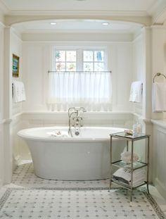 Cafe Curtains For Bathroom Part 4 - White Bathroom Pedestal Tub . Home Design, Luxury Interior Design, Interior Exterior, Diy Design, Design Ideas, Studio Design, Bathroom Window Treatments, Bathroom Windows, Bathroom Faucets