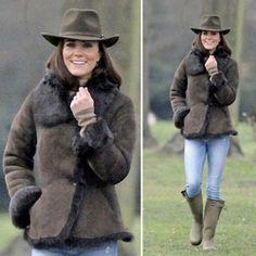 Kate Middleton in lammy jas