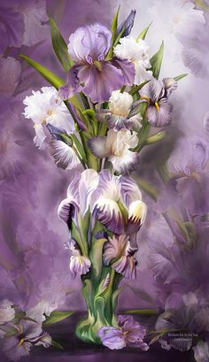 Heirloom Iris In Iris Vase Mixed Media by Carol Cavalaris