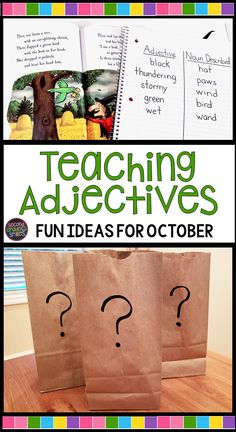 Fun activities for teaching adjectives and descriptive writing that are just right for October and Halloween week in grade! Post includes a free mystery bag lesson printable! Descriptive Writing Activities, Adjectives Activities, Grammar Activities, Fun Activities, Teaching Grammar, Listening Activities, Vocabulary Games, Writing Lessons, Teaching Writing