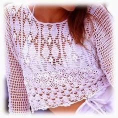 crochelinhasagulhas: Blusa branca de crochê leuke top gehaakt met diagram en goede uitleg