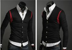 Males New Elegant Design Fashion Style Simple Design Basic Cardigan Black,Navy