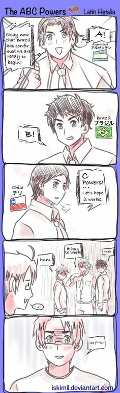 The ABC Powers Latin Hetalia. by Iskimil.deviantart.com on @deviantART